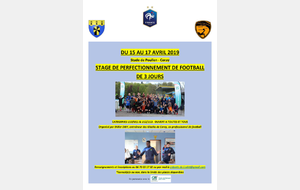 Stage de Football - 15 au 17 avril 2019